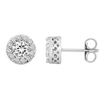 Picture of 2.39 Total Carat Halo Round Diamond Earrings