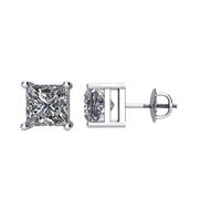 Bild von 1.50 Gesamtkarat Knopf-Ohrringe mit Princessdiamant