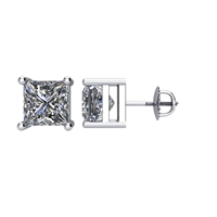 Picture of 2.00 Total Carat Stud Princess Diamond Earrings