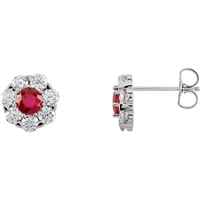 Picture of 1.13 Total Carat Halo Round Diamond Earrings