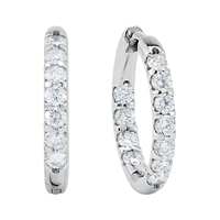 Picture of 1.00 Total Carat Hoop Round Diamond Earrings