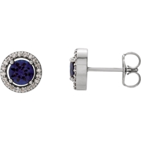 Picture of 0.10 Total Carat Halo Round Diamond Earrings