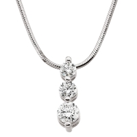 Picture of 1.00 Total Carat Three Stone Round Diamond Necklace