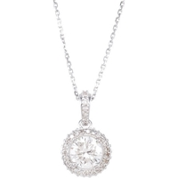 Picture of 1.33 Total Carat Halo Round Diamond Necklace