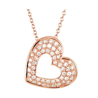 Bild von 0.25 Gesamtkarat Herz-Halsketten mit Runddiamant