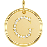 Picture of 0.10 Total Carat Initial Round Diamond Pendant