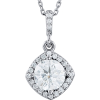 Picture of 0.88 Total Carat Halo Round Diamond Necklace