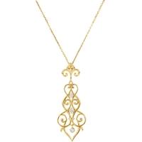 Bild von 0.17 Gesamtkarat Blumen-Halsketten mit Runddiamant