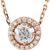 Picture of 0.30 Total Carat Halo Round Diamond Necklace