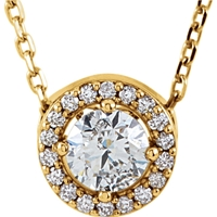 Picture of 0.38 Total Carat Halo Round Diamond Necklace