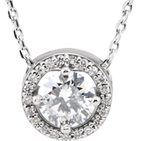 Picture of 0.55 Total Carat Halo Round Diamond Necklace
