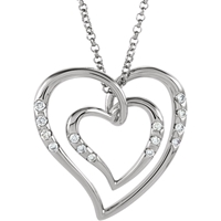 Picture of 0.10 Total Carat Heart Round Diamond Necklace