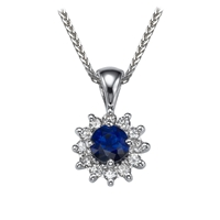 Picture of 0.84 Total Carat Halo Round Diamond Pendant