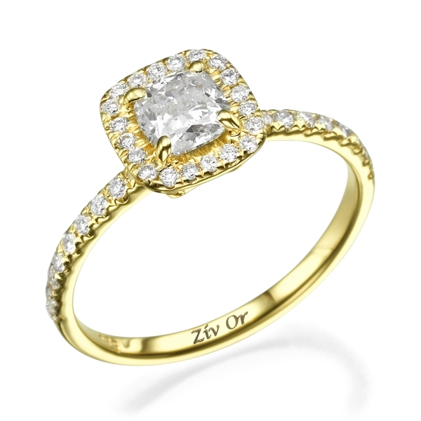 Picture of 0.78 Total Carat Halo Engagement Cushion Diamond Ring