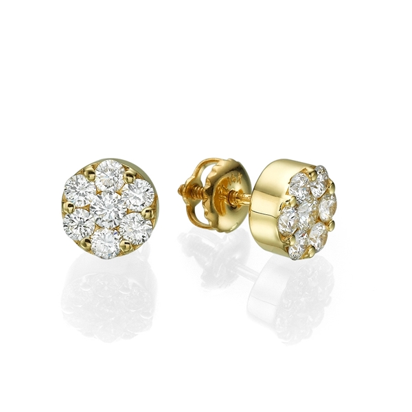 Picture of 0.77 Total Carat Stud Round Diamond Earrings