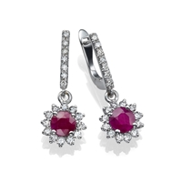 Picture of 1.84 Total Carat Drop Round Diamond Earrings
