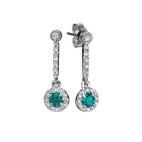 Picture of 0.76 Total Carat Drop Round Diamond Earrings