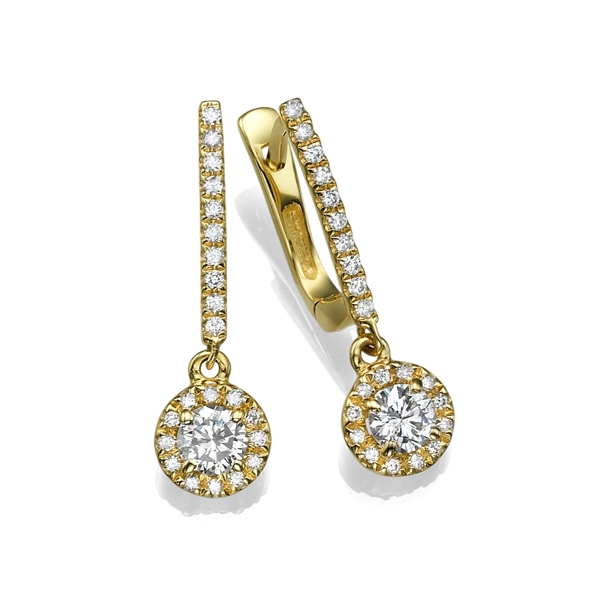 Picture of 1.08 Total Carat Drop Round Diamond Earrings