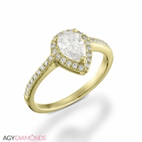 Picture of 1.12 Total Carat Halo Engagement Pear Diamond Ring