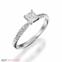 Bild von 2.12 Gesamtkarat Klassisch-Verlobungsring mit Princessdiamant