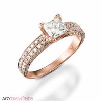 Bild von 1.70 Gesamtkarat Designer-Verlobungsring mit Princessdiamant