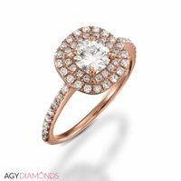 Picture of 0.91 Total Carat Halo Engagement Round Diamond Ring