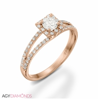 Picture of 0.98 Total Carat Halo Engagement Round Diamond Ring