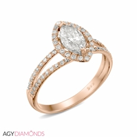 Picture of 0.80 Total Carat Halo Engagement Marquise Diamond Ring
