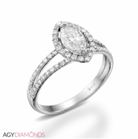 Picture of 0.90 Total Carat Halo Engagement Marquise Diamond Ring