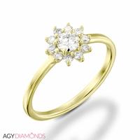 Bild von 0.33 Gesamtkarat Blumen-Verlobungsring mit Runddiamant