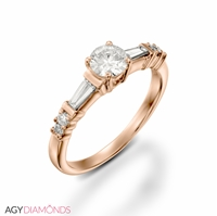 Picture of 1.33 Total Carat Masterworks Engagement Round & Baguette Diamond Ring