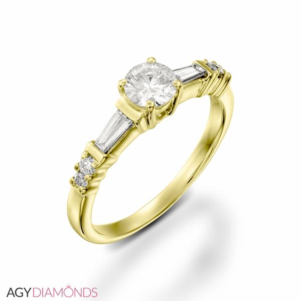 Bild von 0.83 Gesamtkarat Meisterarbeiten-Verlobungsring mit Rund & Baguette - Diamant