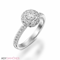 Picture of 0.45 Total Carat Halo Engagement Round Diamond Ring