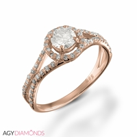 Picture of 0.66 Total Carat Halo Engagement Round Diamond Ring